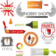 Link toColored paint objects design elements vector 01