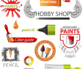 Colored paint objects design elements vector 01