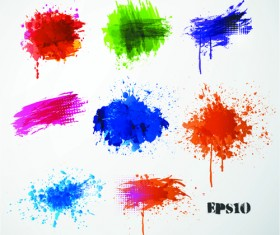 Colored paint splashes grunge vector background 03