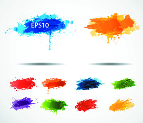 Colored paint splashes grunge vector background 04 free download