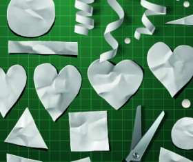 Creative Valentines Day paper cut object vector 02