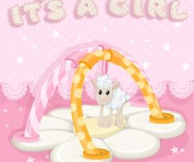 Cute sheep baby card vector 02