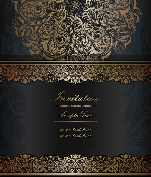 Dark style floral vintage backgrounds vector graphics 05
