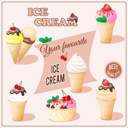 different delicious ice cream vector free download