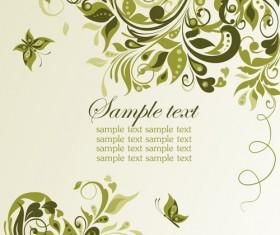 Elegant green floral vector background 01