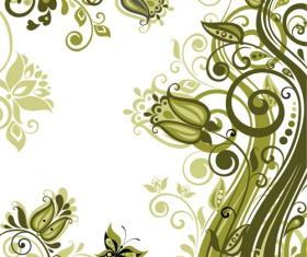 Elegant green floral vector background 02