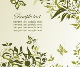 Elegant green floral vector background 03