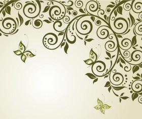 Elegant green floral vector background 04