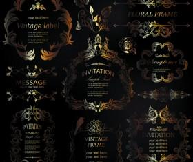 Golden ornament labels with vintage frames vector 01