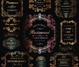 Golden ornament labels with vintage frames vector 02