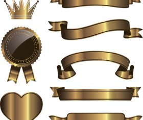 Golden ribbon with crown and heart deaign vector