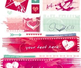 Grunge valentines banners design elements 01