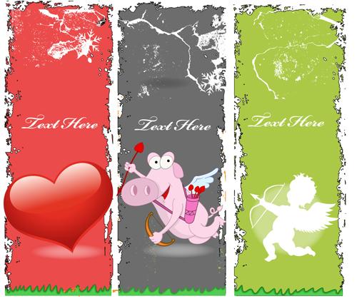Grunge valentines banners design elements 02