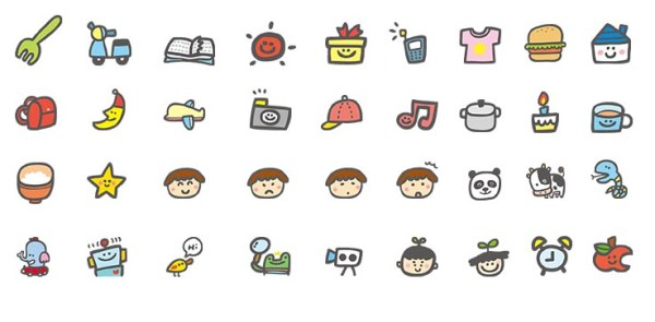 Hand drawn cartoon cute icons