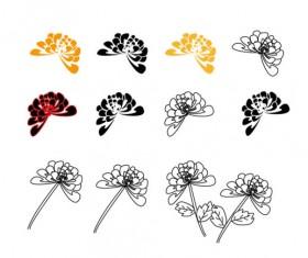 Hand drawn chrysanthemum elements vector