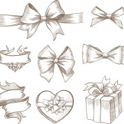 Link toHand drawn ribbon bow and gift boxes vector 01