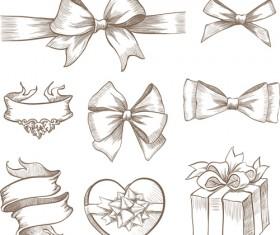 Hand drawn ribbon bow and gift boxes vector 01