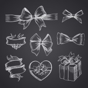 Link toHand drawn ribbon bow and gift boxes vector 02