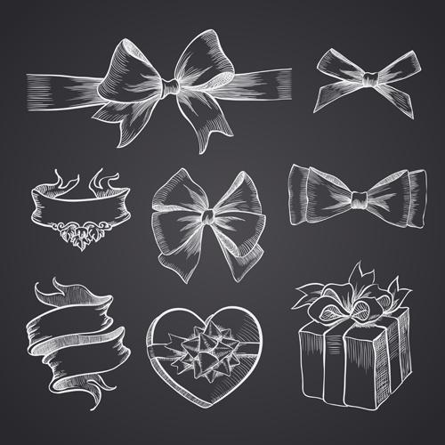 Hand drawn ribbon bow and gift boxes vector 02