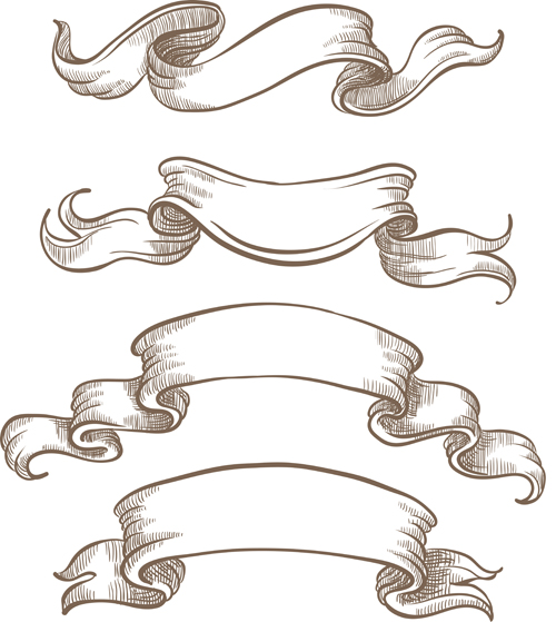hand drawn vintage ribbon benner vector 06 - vector banner, vector, Powerpoint templates