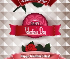 Happy Valentine Day ribbon banner creative vector