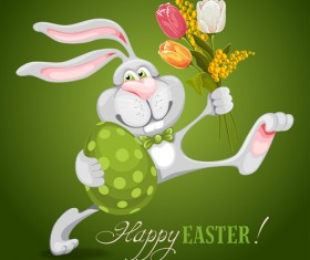 Happy easter bunny background vector graphic 01