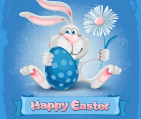 Happy easter bunny background vector graphic 02