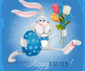 Happy easter bunny background vector graphic 03