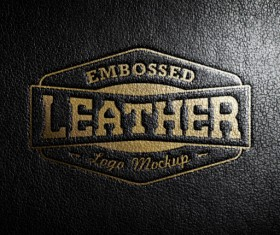 Leather gold logo psd graphic