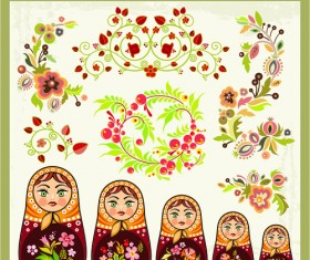Beautiful russian style ornaments design vector 01