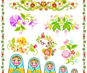 Beautiful russian style ornaments design vector 02