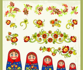 Beautiful russian style ornaments design vector 03