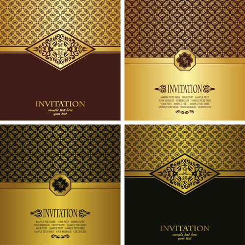 ornate golden invitations design 04 free download