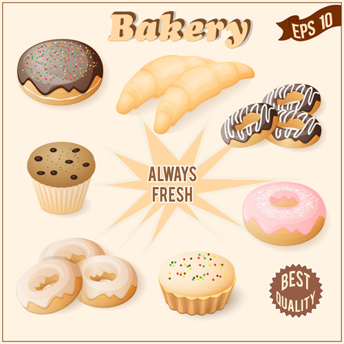 Realistic bakery with cake vector graphic