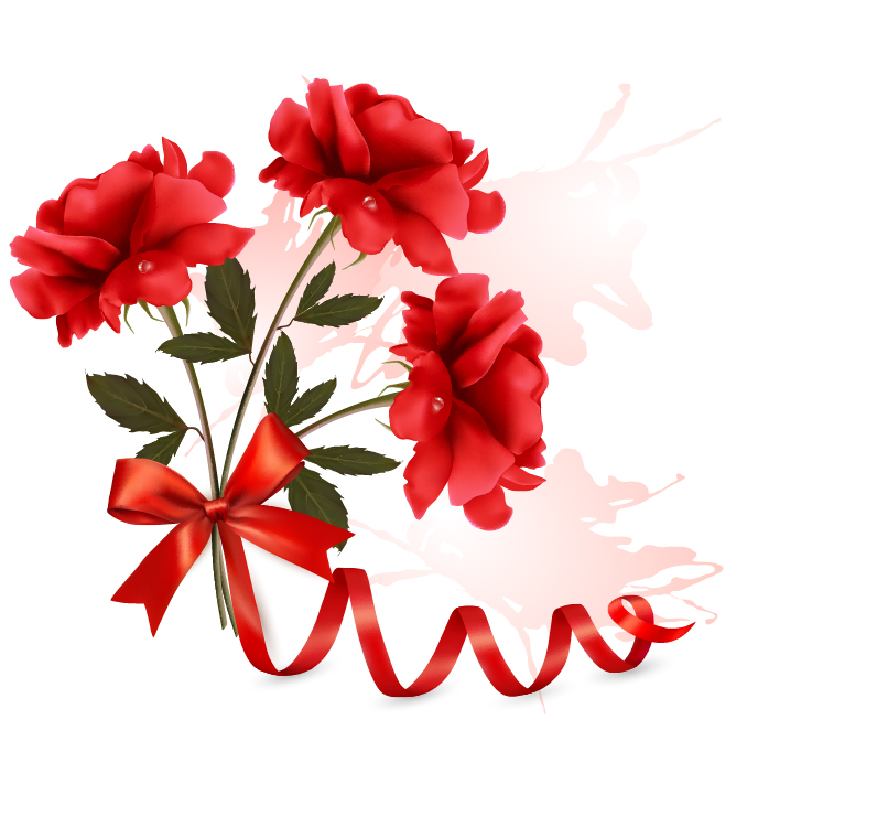 red flower with ribbon design vector free download