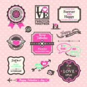 Link toRetro valentines day labels vector set 01