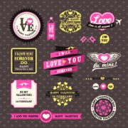 Link toRetro valentines day labels vector set 02