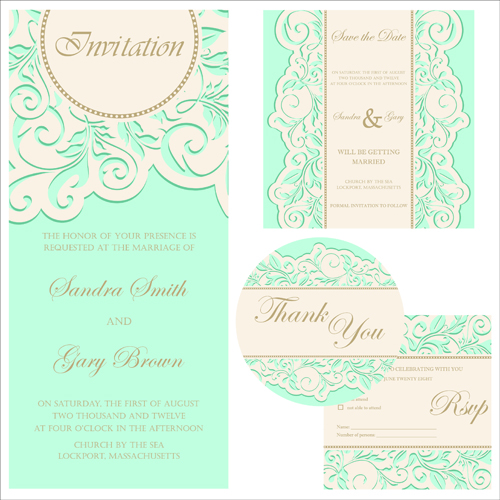 Retro Wedding Invitation Cards Design 01