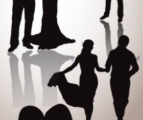 Romantic lovers silhouettes design vector