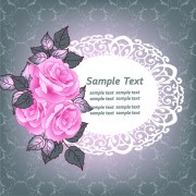 Link toBeautiful pink roses with vintage background vector 01