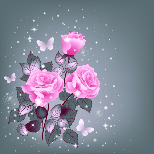 Beautiful Pink Roses With Vintage Background Vector 02