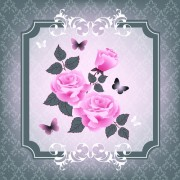 Link toBeautiful pink roses with vintage background vector 04
