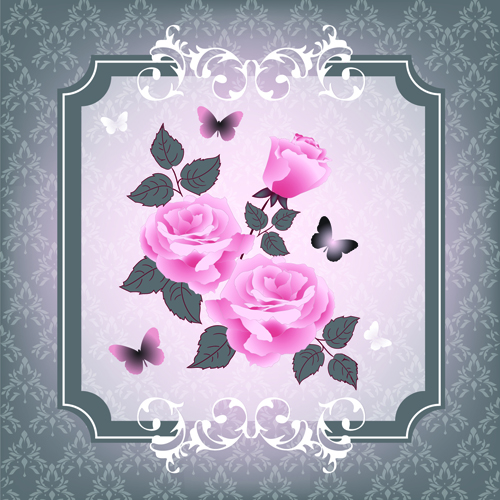 Beautiful Pink Roses With Vintage Background Vector 04 Free Download