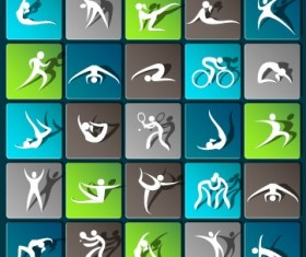 Sports paper icons vector set 02
