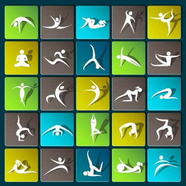Sports paper icons vector set 03