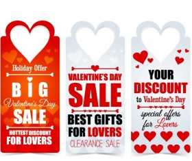 Valentine Day big sale tags vector 01