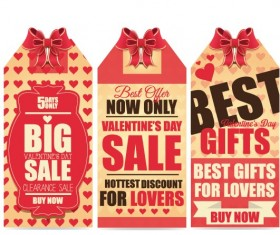 Valentine Day big sale tags vector 02