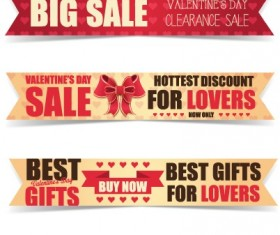 Valentine Day big sale vector banners set 01