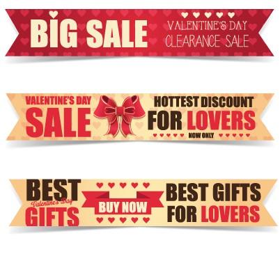 Valentine Day big sale vector banners set 01