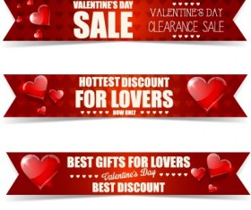 Valentine Day big sale vector banners set 02